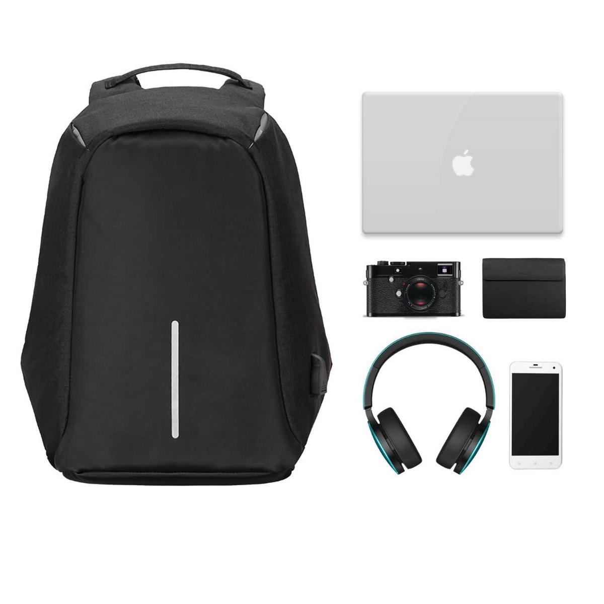 Lopásbiztos hátizsák fekete