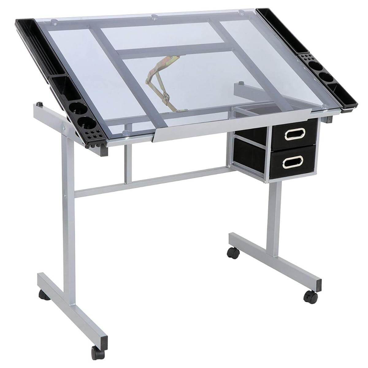 Tervezőasztal emelhető üveg asztallappal